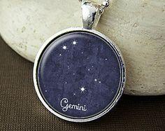 Gemini Constellation Necklace, Gemini Constellation Pendant, Gemini Zodiac Sign, Gemini Jewelry, Gemini Necklace