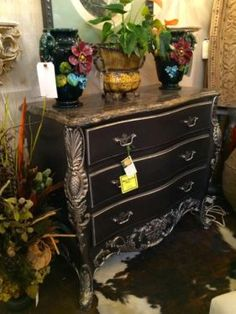 """Charcoal Bombay Chest With Silver Leaf Details On Sale   Pretty Marble Top  38"""" Wide x 18"""" Deep x 34"""" High   Was $979 Sale Price $795  Grace Designs Booth #333  City View Antique Mall  68"""