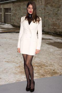 Haute Couture Paris, Couture Week, Dior Couture, Little White Dresses, Nice Dresses, Christian Dior, Laetitia Casta, Black Pantyhose, Nylons