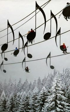 "Musical Ski Lift, France ""Ski lift designs like this would be awesome. This happens to be a realistic/surreal painting titled Concert no 4 by artist Mihai Criste on Deviant Art. How realistic you ask? Enough realistic to make several people believe that ski lifts in Jura Mountain, France do actually look this way."""