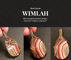 """TUTORIAL WIMLAH """"3 Sisters Collection"""" PDF pattern book,wire wrap weave jewelry,wrapping weaving,wrapped weaved,large,big pendant design"""