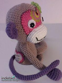 Personalised Amigurumi Monkey Soft Kids Toy - by indiebird on madeit Pet Toys, Kids Toys, Crochet Dolls, Crochet Hats, Amigurumi Toys, Crochet Animals, Yarn Crafts, Monkey, Patterns