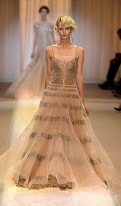 Armani Privé Couture | gold sequin-studded gown with veiled tulle
