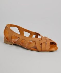 Another great find on #zulily! Tan Woven Peep-Toe Flat by Carrini #zulilyfinds
