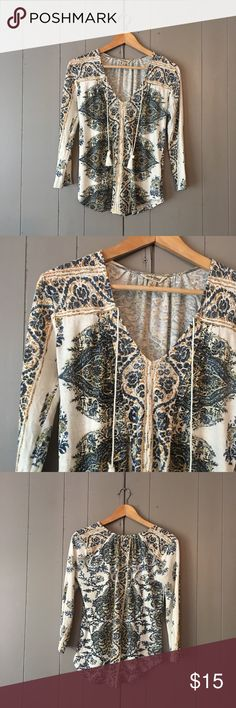 "Lucky Brand Tassel Tie Boho Print Top Super cute top in excellent condition! Armpit to armpit is 17"". Length is 24"". Offers are welcome. ☺️ Lucky Brand Tops"