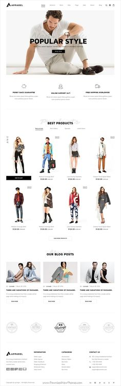 Apparel is clean and modern design PSD template for #fashion store stunning #eCommerce website with 23 layered PSD pages download now..