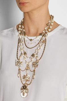 Erickson BeamonBallroom Dancing gold-plated, faux pearl and Swarovski crystal necklace