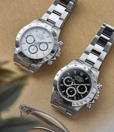 Two elusive late examples of the Rolex Zenith Daytona. From the A and P series both watches have a Luminova dial which is consistent with their late serial production. In 1988 introduced the the first generation of automatic Daytonas with the Most Expensive Rolex, Expensive Watches, Rolex Daytona Stainless Steel, Daytona Watch, Seiko Watches, Luxury Watches For Men, Beautiful Watches, Watch Brands, Cool Watches