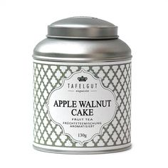 """Tafelgut """"Apple Walnut Cake"""" fruit tea from Germany. Made from apple pieces, marshmallows, apple slices, and walnuts. Regular tin is 130g and $15.10, mini tin is 30g and $7.49. #tafelgut"""