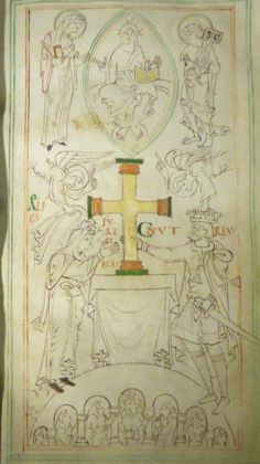 The Winchester New Minster Liber Vitae, showing King Cnut and his wife Queen Emma presenting a cross to New Minster.