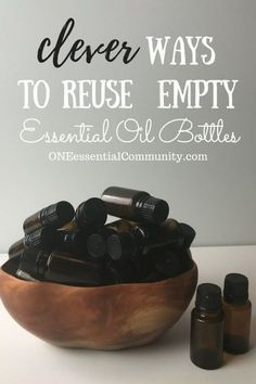 """Creative & practicalideas to reuse empty essential oil bottles! hand sanitizer, pillow spray, make-ahead diffuser blends, owie spray, personal inhalers, """"Lysol"""" disinfecting spray, skin toner, face serum, bath salts, air freshener, anti-itch spray, perfume, and LOTS MORE!!"""