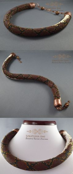 Free Shipping ! Jewelry, Necklaces, Beadwork, Necklace, bead crochet rope - snake necklace phyton - pinned by pin4etsy.com