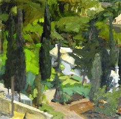 'Garden', 1972 by Panayiotis Tetsis Landscape Art, Landscape Paintings, Landscapes, Contemporary Artists, Modern Art, Greek Paintings, Oil Paintings, Painter Artist, Greek Art