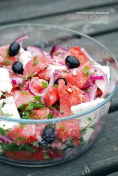 Sałatka z arbuzem i fetą (Watermelon and Feta cheese salad - recipe in Polish)
