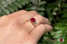 We gathered the most gorgeous ruby engagement rings you won't stop dreaming about. Moreover, Get Inspired Buy Our Huge Collection Of Ruby Gemstone Ring Online. Three Stone Diamond Ring, Amethyst And Diamond Ring, Diamond Gemstone, Pearl Gemstone, Gemstone Jewelry, Jewelry Show, Jewellery, Pearl Pendant, Gemstones