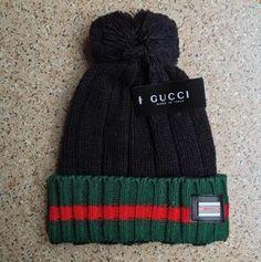 Gucci Knit Wool Web Hat (Black)
