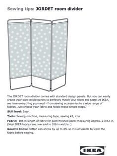 Customize to match your room by sewing your own fabric to an IKEA room divider.