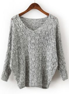 Grey V Neck Long Sleeve Hollow Sweater