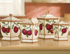 Tuscany Red Apple with Bamboo Trim Hand Painted, Canister Set of 84301 by ACK Canister Set Red Apple Hand Painted Tuscany Food Fresh Gift Table Top Kitchen. Includes neoprene gaskets to seal in food freshness. Fruit Kitchen Decor, Sunflower Kitchen Decor, Rustic Kitchen Decor, Kitchen Decor Themes, Country Kitchen, French Kitchen, Ikea Hacks, Apple Green Kitchen, Pineapple Kitchen