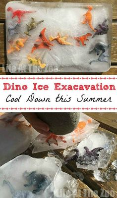 Dinosaur Ice Excavation - a super fun activity for hot summer days! Great for toddlers and preschoolers.