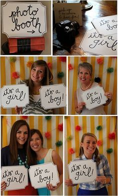 gender reveal photo booth - have each guest hold up their prediction and take a picture of them, when they first come in