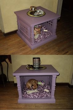 "Table Dog Bed......Made from an old outdated end table.  Remove the doors from the front of the table. Use  a jigsaw to cut two ""windows"" out on each side of the table and re-mount the doors as decorative window shutters. Freshly paint & you have it!"