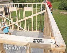 Framing a Garage: Straighten the top of the wall. Get the plans: http://www.familyhandyman.com/garage/framing-a-garage/view-all