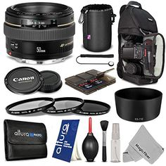 Canon EF 50mm f/1.4 USM Standard Telephoto Lens + Advanced Accessory Kit – Includes: Vivitar Camera Sling Backpack + 58mm Altura Photo UV-CPL-ND4 Filter Kit + Altura Photo ES-71II Dedicated Lens Hood + Altura Photo Neoprene Lens Pouch + Altura Photo Memory Card Case + Lens Cap Keeper Holder + Altura Photo Cleaning Kit + MagicFiber Microfiber Cleaning Cloth  http://www.lookatcamera.com/canon-ef-50mm-f1-4-usm-standard-telephoto-lens-advanced-accessory-kit-includes-vivitar-camera-sling-..