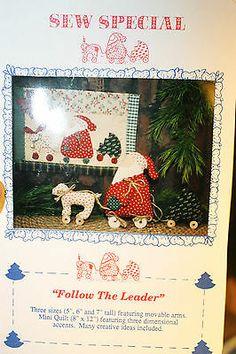 """Primitive Folk Art 5"""",6"""" & 7"""" Santa & mini Quilt Pattern from Sew Special"""