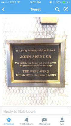 New plaque at Warner's former West Wing stage. RIP Leo