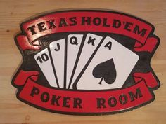 Texas Holdem Poker Room 3D routed carved wood bar pub sign plaque | eBay
