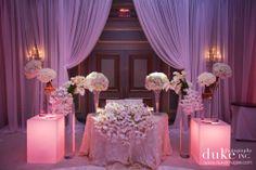 courtesy of duke photography. modern. white. lighting. sweetheart table.