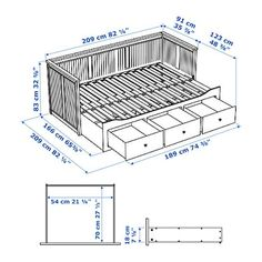 HEMNES Day-bed frame with 3 drawers, grey. A sofa, a single bed, a double bed and storage in one piece of furniture! If you like the style, you can combine it with other furniture in the HEMNES series. Ikea Hemnes Daybed, Hemnes Day Bed, Sofa Bed Frame, Day Bed Frame, Murphy-bett Ikea, Diy Bett, Sofa Bed Design, Do It Yourself Furniture, Murphy Bed Plans