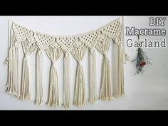 DIY Macrame Garland / 마크라메 가랜드 - YouTube Macrame Art, Macrame Design, Macrame Projects, Macrame Knots, Micro Macrame, Macrame Curtain, Macrame Plant Hangers, Diy Wedding Backdrop, Tatting Jewelry