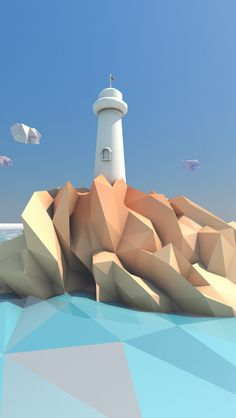 Lighthouse in a low poly world by Andrus Valulis