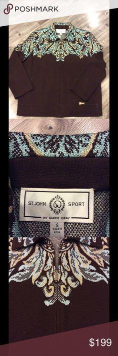 St. John blue turquoise cardigan St. John blue and turquoise zip cardigan St. John Sweaters