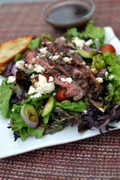 """One could definitely argue that when you add flank steak to salad, it's no longer a """"healthy"""" salad. I would not argue with that person. Instead, I would take a big bite with a huge smile on my f..."""