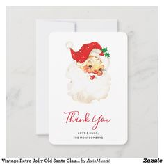 Vintage Retro Jolly Old Santa Claus Christmas Thank You Card Vintage Shops, Retro Vintage, Christmas Thank You, Love Hug, Keep It Cleaner, Your Cards, Thank You Cards, Holiday Cards, Santa