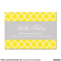 Yellow and Gray Modern Moroccan Lattice Large Business Card