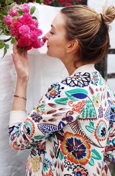 Coco's Tea Party wears Boden Floral Bomber. June 2015.