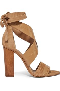 Vince Beatrice leather and suede lace-up sandals.