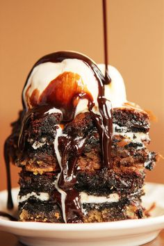 Top cookie dough with a layer of Oreos AND a layer of brownie batter.