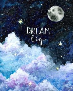 Night sky stars moon dream big clouds