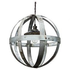 "Lend a touch of industrial-chic appeal to your foyer or dining room with this stunning 1-light chandelier, crafted of reclaimed wine barrel hoops. Made in the USA.  Product: ChandelierConstruction Material: Reclaimed wine barrel hoops and metalColor: SilverFeatures:  Made in the USADistressed finishAccommodates: Bulb - not includedDimensions: 20"" H x 20"" Diameter"