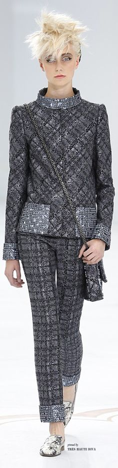 Chanel ~ Haute Couture Black + Grey Tweed Pant Suit, FW 2014-15