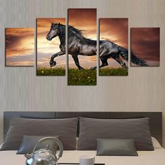 HD Large Horse Decor Art Painting Animal Modern Picture Oil Canvas Wall No Frame Simple Oil Painting, Oil Painting On Canvas, Spray Painting, Painting Frames, Canvas Artwork, Canvas Wall Art, Framed Canvas, Modern Artwork, Canvas Pictures