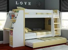 Girls loft bed with desk girls bunk beds with desk bunk beds for teenager loft bed Teen Bunk Beds, Teenage Beds, Childrens Bunk Beds, Full Bunk Beds, Kid Beds, Desk Under Bed, Bunk Bed With Desk, White Wooden Bunk Beds, Loft Beds For Teens
