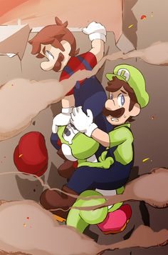 Mario and 2 green people by <<< I feel like this highlights well the personalities of Mario and Luigi in my story Mundo Super Mario, Super Mario And Luigi, Super Mario Games, Super Mario Art, Super Mario World, Super Mario Brothers, Nintendo Game, Nintendo Characters, Super Nintendo