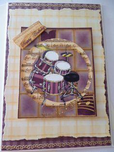 Music Drums  Male Birthday  greeting Handmade card 3D ~