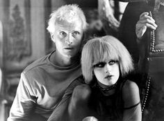 """Blade Runner (directed by Ridley Scott based on Philip K. Dick's novel """"Do Androids Dream of Electric Sheep?"""" w/ Rutger Hauer & Daryl Hannah in photo) Daryl Hannah, Film Blade Runner, Blade Runner 2049, Blade Runner Pris, Martin Scorsese, Alfred Hitchcock, Stanley Kubrick, Roy Batty, Dramas"""